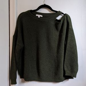 AEO shoulder cut-out 3/4 length sleeve knit sweater